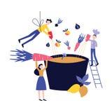 Povos pequenos que cozinham o prato no estilo liso enorme dos desenhos animados do potenciômetro ou do caldeirão ilustração royalty free