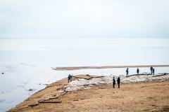 Povos perto do mar Báltico em Saulkrasti, Letónia Fotografia de Stock