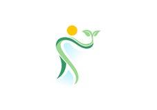 Povos, planta, termas, logotipo, bem-estar natural da saúde, ícone do símbolo da ecologia ilustração do vetor