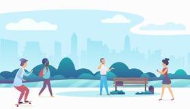 Povos que andam e que relaxam em um parque público urbano bonito com skyline moderna da cidade no fundo Plano moderno ilustração stock