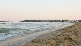 Povos que andam na praia do mar Imagens de Stock