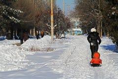 Povos que andam no parque do inverno em Volgograd fotografia de stock royalty free