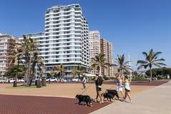 Povos que andam no passeio pavimentado em beira-mar Fotos de Stock Royalty Free