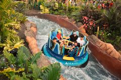 Povos que apreciam o passeio em quedas da infinidade em Seaworld Marine Theme Park imagem de stock royalty free
