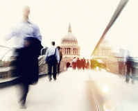 Povos que apressam-se no conceito de Londres Imagem de Stock