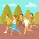 Povos que correm ao redor no parque Imagens de Stock