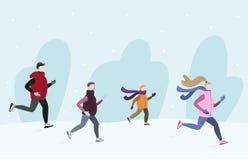 Povos que correm junto a parte externa na estação fria do inverno Ilustração Handdrawn do vetor imagem de stock royalty free