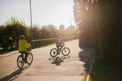 Povos que dão um ciclo no parque no por do sol fotografia de stock royalty free