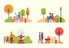 Povos que descansam na família e nos amigos do parque que relaxam ilustração do vetor