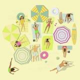 Povos que encontram-se em coberturas ou em toalhas na areia da praia Homens e mulheres que relaxam no recurso de ver?o Ilustra??o ilustração stock