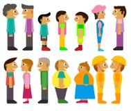 Povos que enfrentam-se personagens de banda desenhada Imagens de Stock Royalty Free