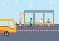 Povos que esperam um ônibus Ilustração Royalty Free