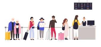 Povos que estão na fila ou na linha à mesa de registro a fim registrar-se para o voo Homens e mulheres com espera da bagagem ilustração do vetor