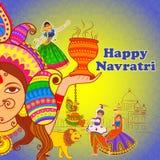 Povos que executam a dança e o Garba de Dhunuchi para Navratri feliz no estilo indiano da arte Imagens de Stock Royalty Free