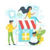 Povos que fazem a compra em linha ilustração do vetor