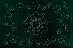 Povos que guardam as mãos em todo o mundo e os símbolos de paz todo o arou Foto de Stock