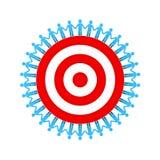 Povos que guardam as mãos em torno do alvo ou do alvo vermelho o conceito do negócio dos trabalhos de equipa isoladas no fundo br Imagem de Stock Royalty Free