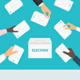 Povos que guardam cédulas em suas mãos e que põem as em urnas de voto Eleições e votação ilustração stock