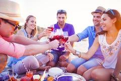Povos que guardam vidros da fatura de vinho tinto um brinde na praia Foto de Stock Royalty Free