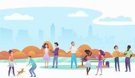 Povos que jogam com animais de estimação, falando e andando em um parque público urbano bonito com skyline moderna da cidade no ilustração royalty free