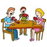 Povos que jogam o jogo de cartão do póquer ilustração do vetor