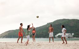 Povos que jogam o voleibol Imagem de Stock