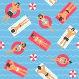 Povos que nadam no teste padrão sem emenda do mar Fotos de Stock Royalty Free