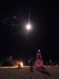 Povos que olham fogos-de-artifício na praia de Candolim Fotografia de Stock Royalty Free