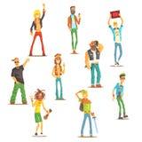 Povos que pertencem ao grupo diferente da subcultura de personagens de banda desenhada reconhecíveis com atributos culturais do g ilustração stock