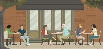 Povos que sentam-se em uma cafetaria ilustração royalty free