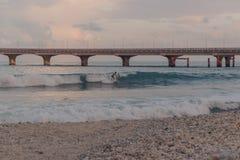 Povos que surfam em uma praia pequena no homem, Maldivas fotos de stock royalty free