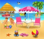 Povos que têm o divertimento em férias de verão Ilustração Stock