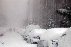 Povos que tentam andar em um dia nevado imagem de stock royalty free