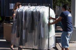 Povos que trabalham durante a semana de moda de New York Fotografia de Stock