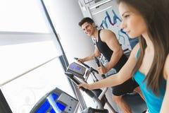 Povos que treinam no gym imagens de stock