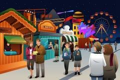 Povos que vão ao parque de diversões ilustração do vetor