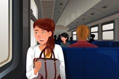 Povos que viajam no trem Imagens de Stock