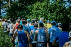 Povos running da raça da maratona que competem Fotos de Stock