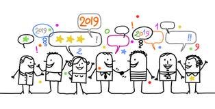 Povos sociais dos desenhos animados felizes e ano novo 2019 ilustração royalty free