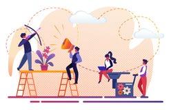 Povos Team Working do escrit?rio para o sucesso comercial ilustração royalty free