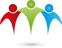 Povos, três pessoas, parceria e Team Logo ilustração do vetor