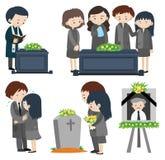 Povos tristes no funeral ilustração royalty free
