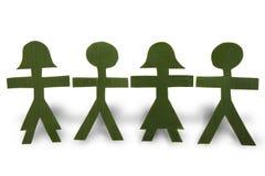 Povos verdes em uma corrente Fotografia de Stock