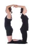 Povos vestidos preto que formam zero 0 números Imagens de Stock
