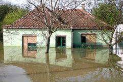 Powódź, duża katastrofa naturalna Zdjęcie Royalty Free