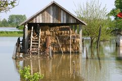 Powódź, duża katastrofa naturalna fotografia stock