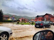 Powódź w Bośnia Obrazy Royalty Free