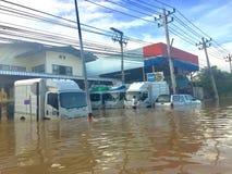 Powódź w Muang okręgu, Phetchaburi privince Ciężki padać szalenie Obraz Stock