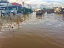Powódź w Muang okręgu, Phetchaburi privince Ciężki padać szalenie Zdjęcia Royalty Free