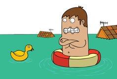 Powódź z kaczką - samotnie royalty ilustracja